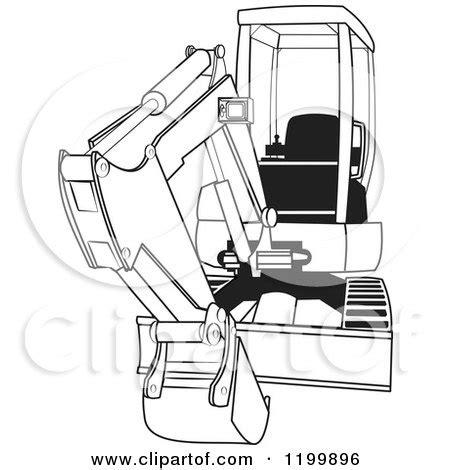 cartoon   outlined mini excavator royalty  vector clipart  dennis
