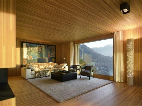 concrete cube home  surprising wooden interior wave