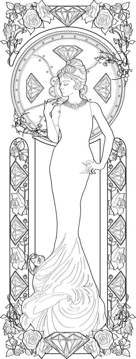 Jugendstil Kleurplaat by Alphonse Mucha Coloring Book Pages Coloring Pages