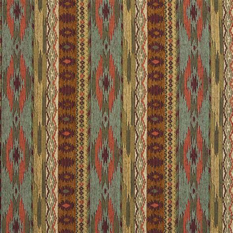 teal gold  red southwestern mexican ranch stripe