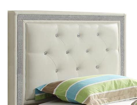 White Headboard With Crystals by White Faux Button Tufted Leatherette