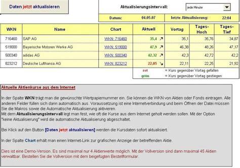 aktienverwaltung fuer excel  freewarede