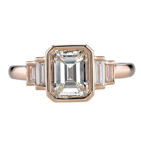 deco 1 53 carat emerald cut gold engagement ring at 1stdibs