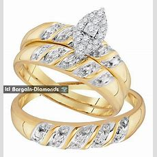 Diamond 14 Carat 3ring Bridal 10k Gold Engagement
