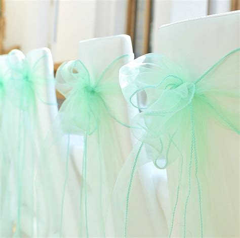 new 50pcs mint green organza chair sashes bow wedding