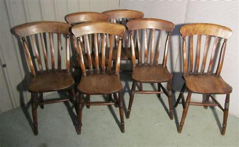 set 6 slat back farmhouse kitchen chairs