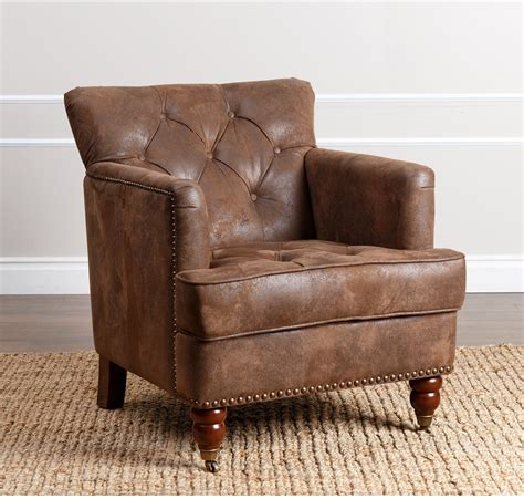 Antique Brown Fabric Club Chair Distressed Fabric Leather