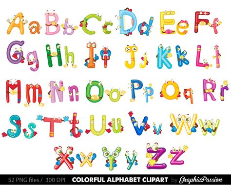 Fun Alphabet Clipart Digital Alphabet Letters Clipart Digital