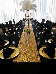 Black Table Linens, Gold Charger Plates, Black Napkins
