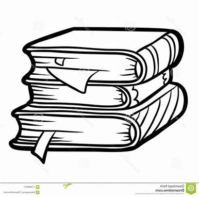 Stack Books Outline Clipart Drawing Coloring Pile