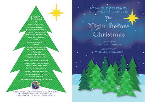 icsv s elementary 2012 christmas concert program barbara