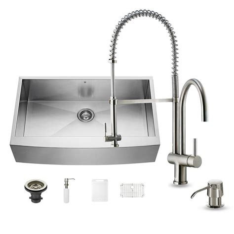 single bowl stainless kitchen sink vigo all in one farmhouse apron front stainless steel 36 7957