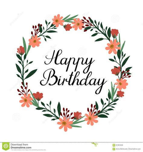 Share or download your own brand new 21st happy birthday card design. Happy Birthday Hand Lettering Greeting Card. Vector Calligraphy. Floral Wreath Stock Vector ...