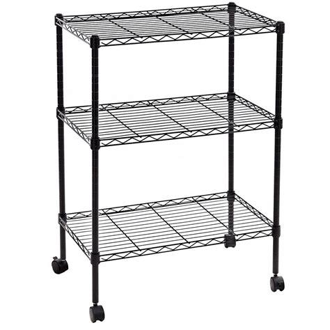 rolling shelf rack 34x24x14 quot 3 tier layer shelf adjustable wire metal