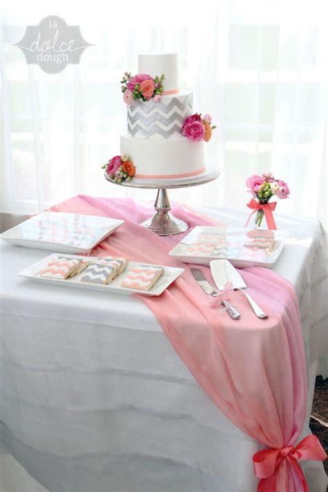 coral pink  silver chevron bridal shower cake