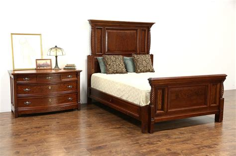 queen size  pc carved cherry mahogany  antique