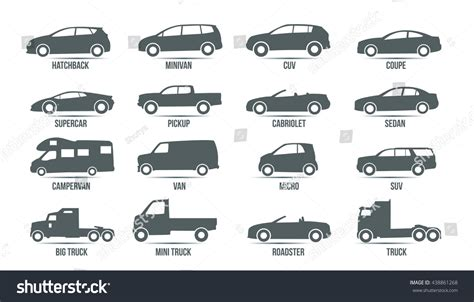 Car Model Type Objects Icons Automobile Stock Vector