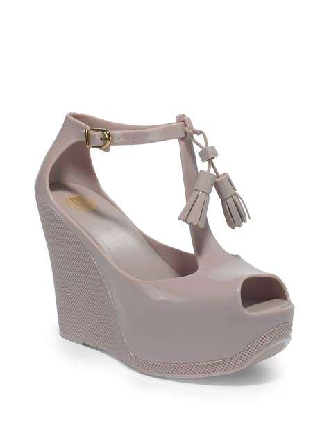 lyst melissa peace platform wedge sandals  pink