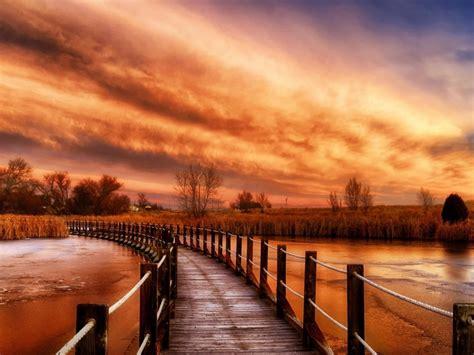 Autumn River Sky Wooden Bridge Ultra Hd 3840x2160 ...