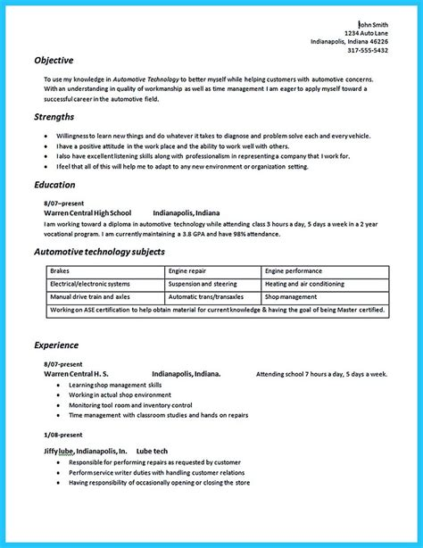 auto mechanic resume objective 28 images automotive