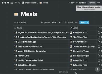 Notion Planning Template Meal Optional Step Favorite