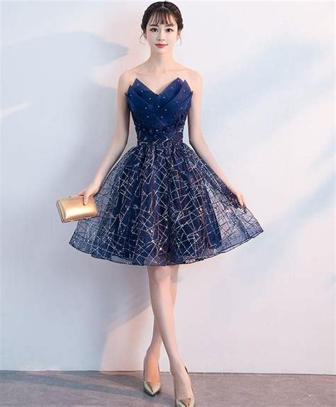 dark blue  neck tulle sequin short prom dress blue