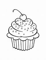 Cupcake Coloring Pages Printable Cupcakes Outline Blank Cups sketch template