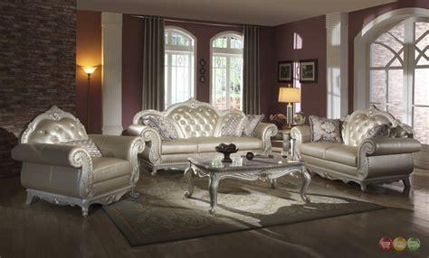 Fancy Living Room Sets : Elegant Metallic Pearl Button Tufted Leather Formal Living