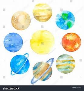 Watercolor Planets Solar System Mercury Venus Stock ...