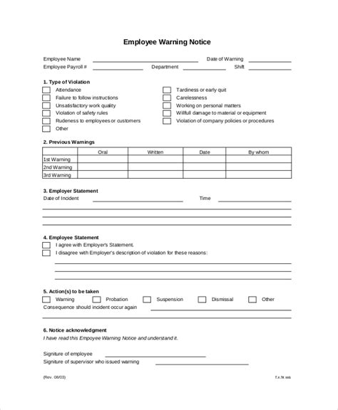 employee warning notice business form letter template