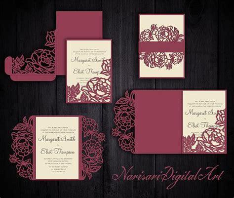 peonies set cricut wedding invitation template gate fold