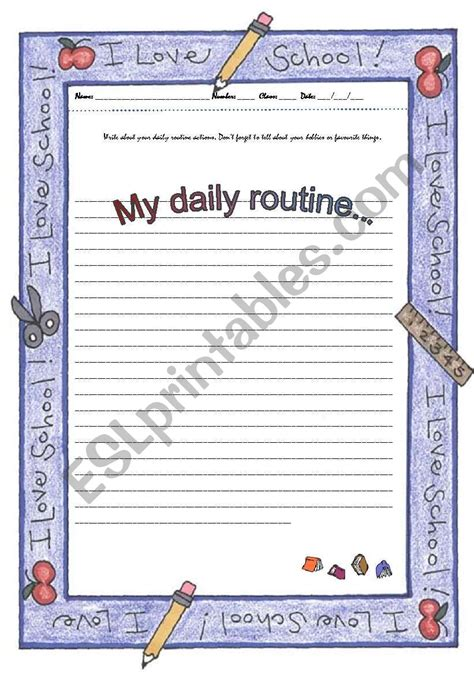 writing  daily routine esl worksheet  azulado