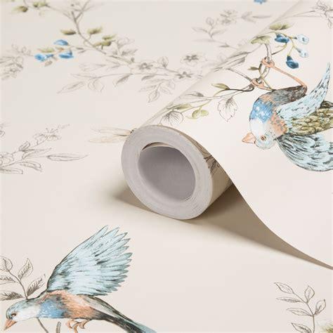 colours heligan cream birds mica effect wallpaper