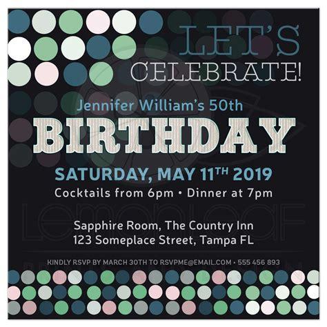 adult birthday modern bokeh polka dots party invitation