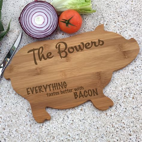 Personalized Pig Shaped Kitchen Board   Custom Wood