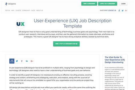 ux designer description 25 best ideas about description on resume