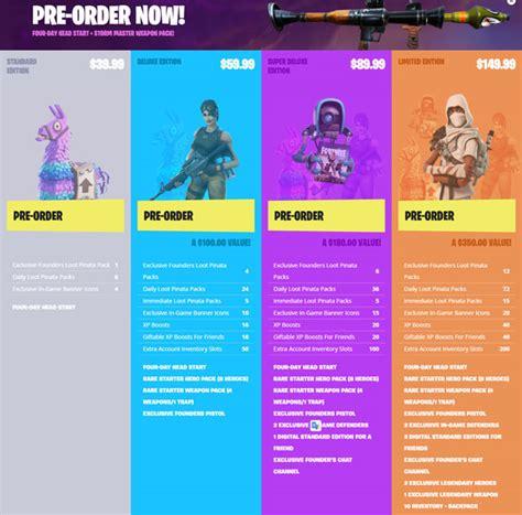 fortnite  edition packs items  pre order bonuses