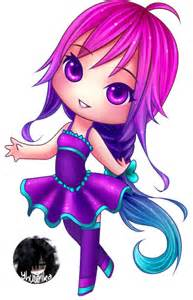 violet dress chibi girl with ombre hair by yhuurika on deviantart