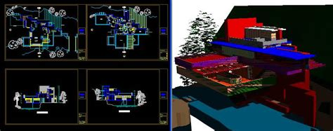 falling water  dwg model  autocad designs cad