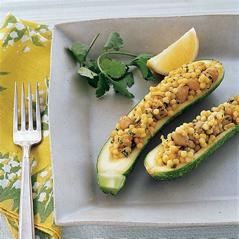 Zucchini Stuffed with Chickpeas and Israeli Couscous