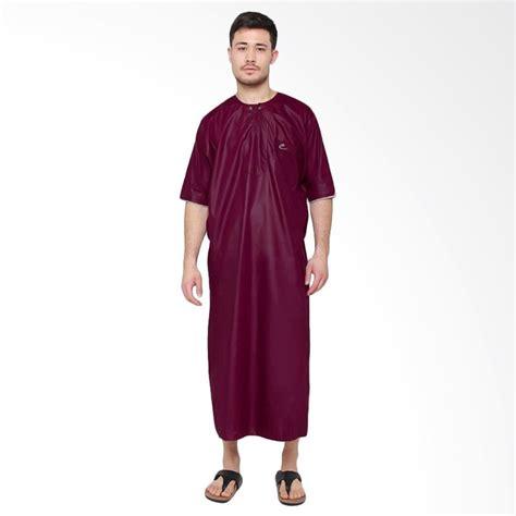 jual okechuku al isra jubah arabi pakaian gamis pria lengan pendek maroon harga