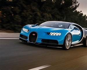 Wallpaper Blue Bugatti Chiron supercar speed 3840x2160 UHD