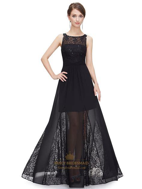 Black Lace Bodice Illusion Neckline Chiffon Prom Dress ...