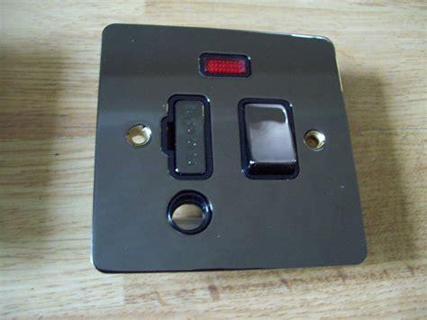 amp neon fused spur outlet  polished black nickel
