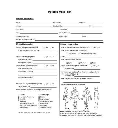 massage intake form laustereocom