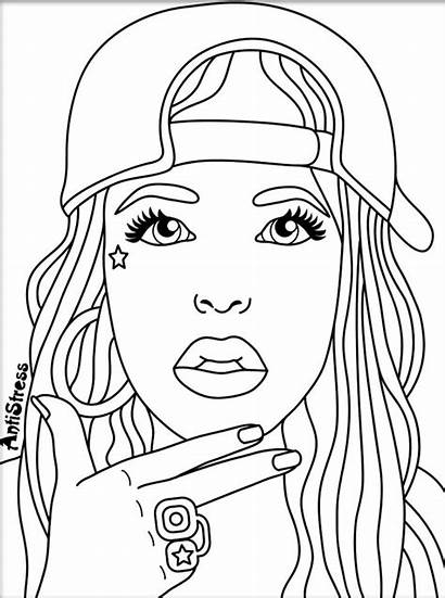 Coloring Pages Woman Drawing Colouring Printable Adult