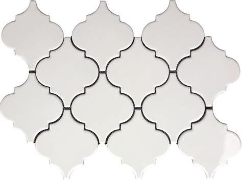 white arabesque tile 9 79sf whisper white arabesque glazed porcelain mosaic tile