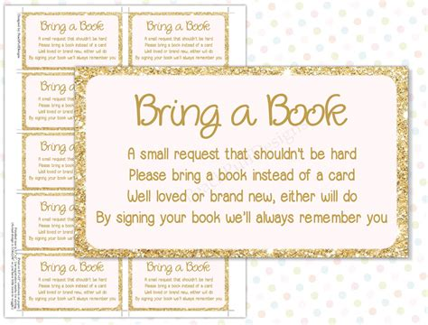 Baby Shower Book Poem - bring a book instead of a card pink gold instant