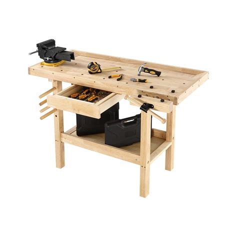 hardwood workbench wooden bench vise table top storage