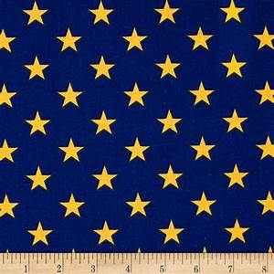 All Stars Navy/Yellow - Discount Designer Fabric - Fabric com